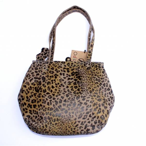Dolly Leopard Print Leather Frame Shoulder Bag