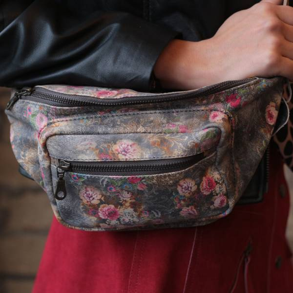Double Bumbag N21 Grey Floral Leather