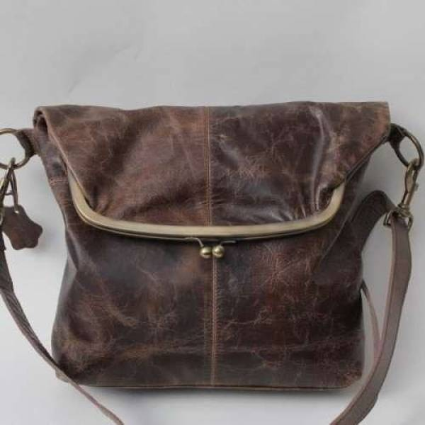 Large Framed Brown Scrunchy Leather