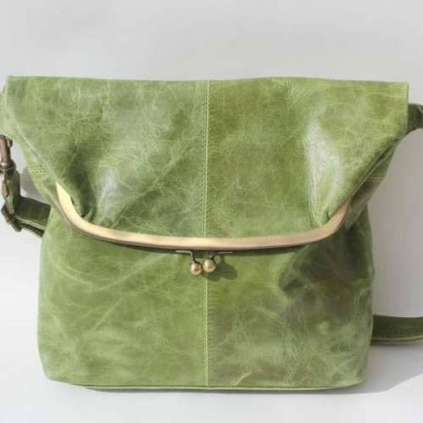 Large Clip Bag Apple Green Leather