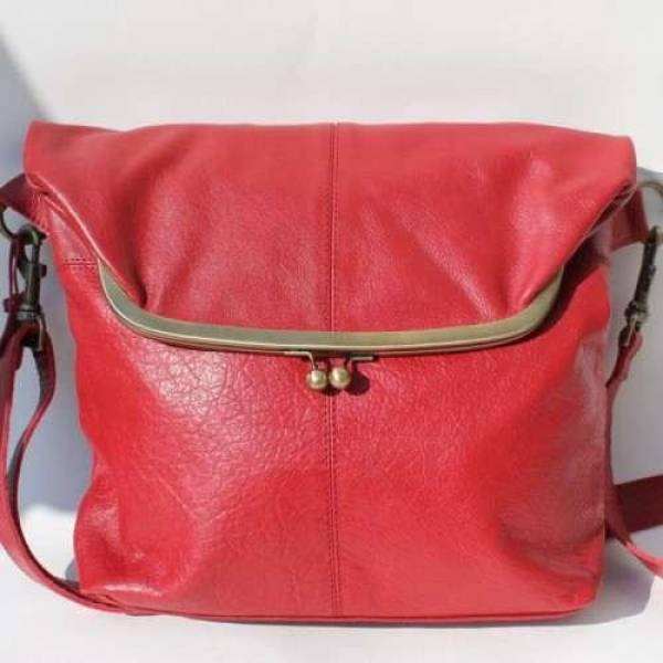 Large Foldover Framed Clip Bag Red Leather