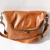 Dublin Large Clip Bag Tan Smooth Leather