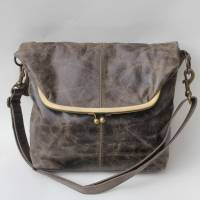 Dublin Large Clip Framed Bag Brown Scrunchy Leather