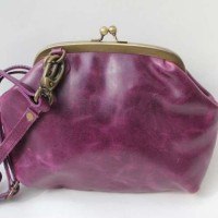 Evanna Clip and Clutch Bag Purple Leather Large