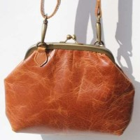 Evanna Large Clip and Clutch Bag Tan Smooth