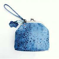 Evanna Clip Bag With Floor Floor Blue Crocodile Print