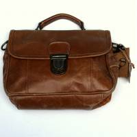 Funky Bag Distressed Tan Leather Mini Satchel
