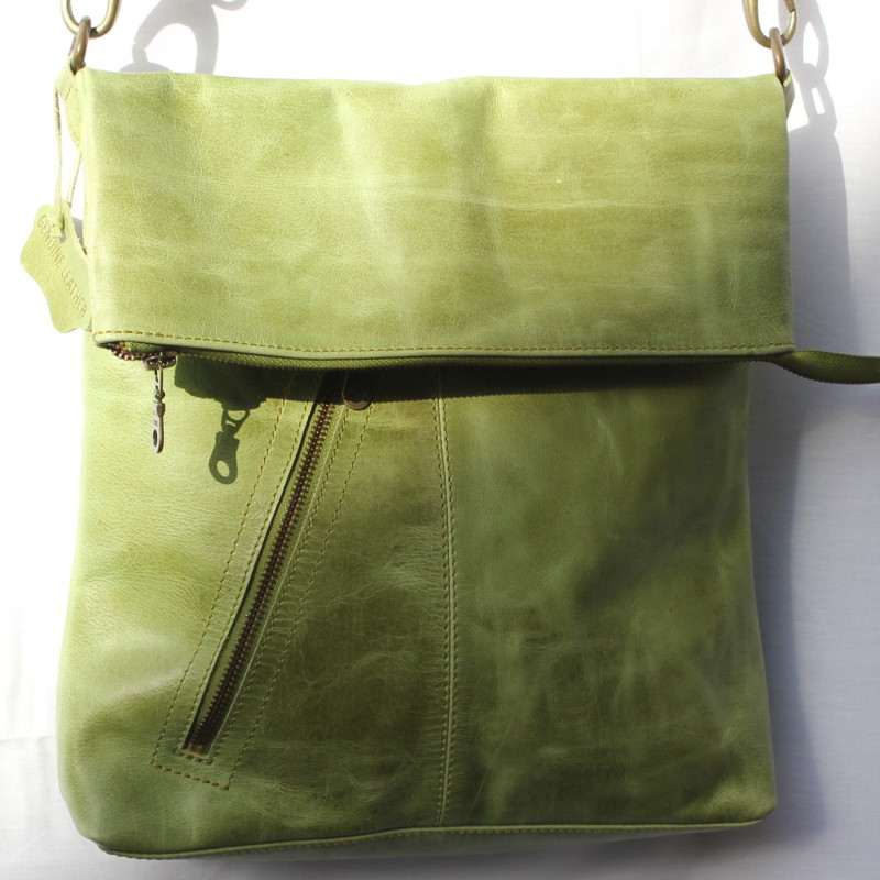 Amelie Green Leather Messenger Bag