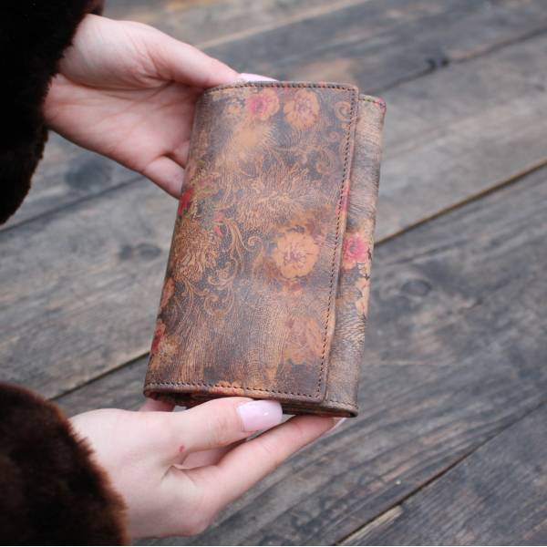 Floral Print Leather Wallet