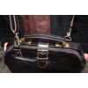 Doctor Bag Small  Brown Shiny Scrunchy Leather with back pocket