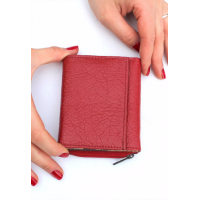 Red And Spanish Floral Leather Trifold Wallet