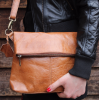 Mini Amelie Flapover Bag in Vintage Tan Leather