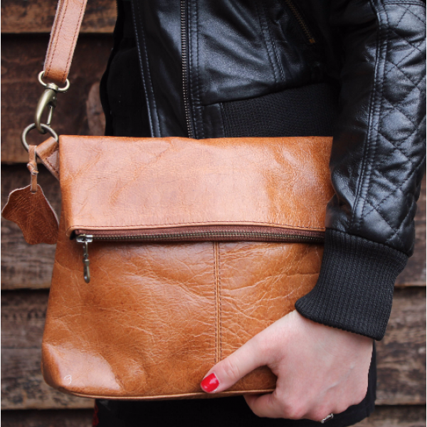 Flap Over in Vintage  Tan Leather