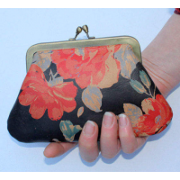 Miriam Large Kiss Clip Purse Spanish Floral Leather Print