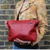 Dublin Medium Flapover Zip Bag Red Leather