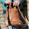 Rucksack Small Tan Scrunchy Leather