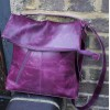 Amelie Purple Leather Messenger Bag