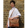 Large Clip Bag Tan Scrunchy Leather