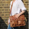 Satchel Tan Scrunchy Leather Bag