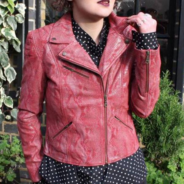 Biker Jacket Leather Snake Print Light Red