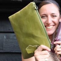 Sleeve Apple green Leather Clutch-Bag