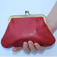 Miriam Large  Kiss Clip Purse Red Leather
