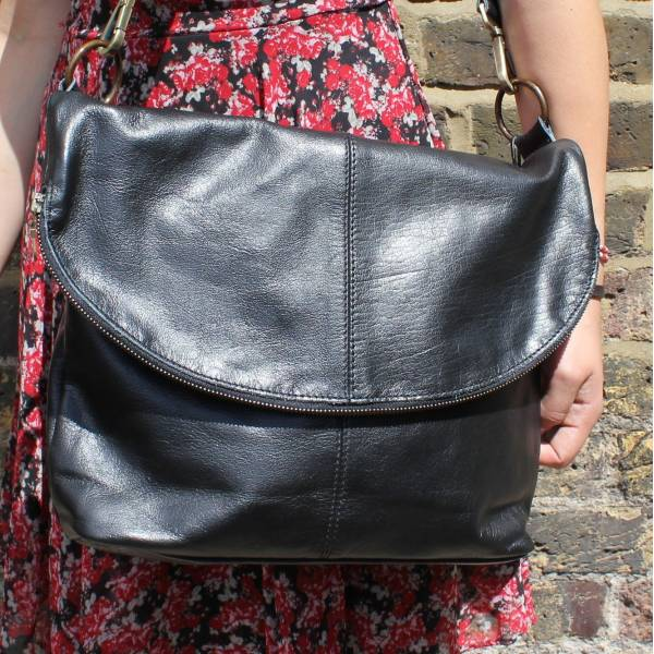 Dublin Large Zip Bag Black Leather