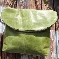 Dublin Large Zip Bag Apple Green Leather