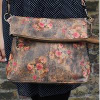 Mini Amelie Foldover Vintage Floral Bag no 21 Tan