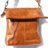Tan Smooth Leather Messenger Bag