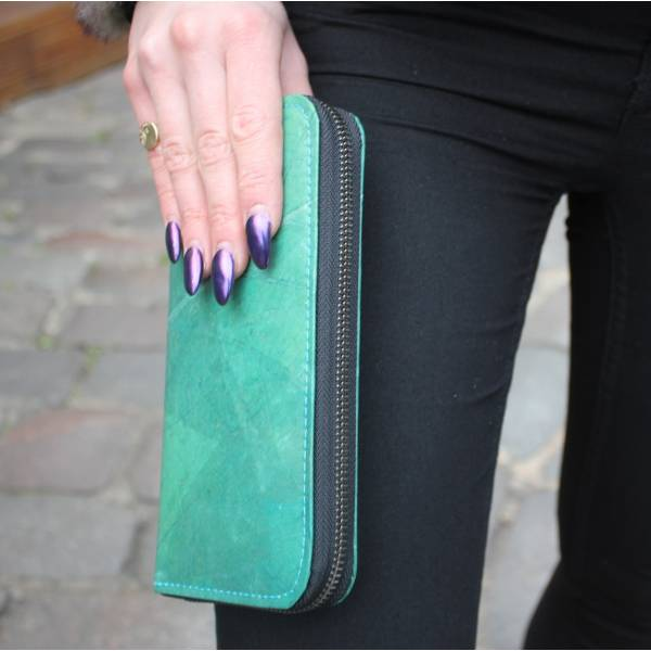 Wallet Large Zip Surround Vegan Turquoise Leaf