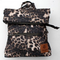 Amelie Backpack Convertible to Messenger Bag Dark Leopard Print Vegan