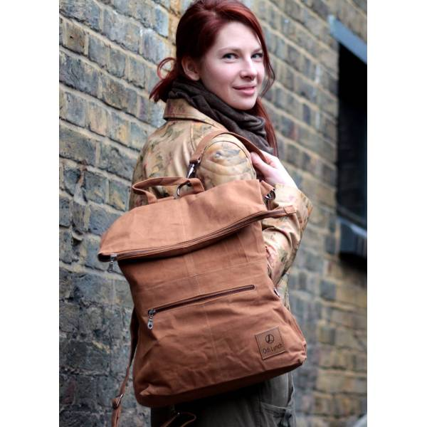 Belgian Zip Convertible Rucksack Tan Vegan